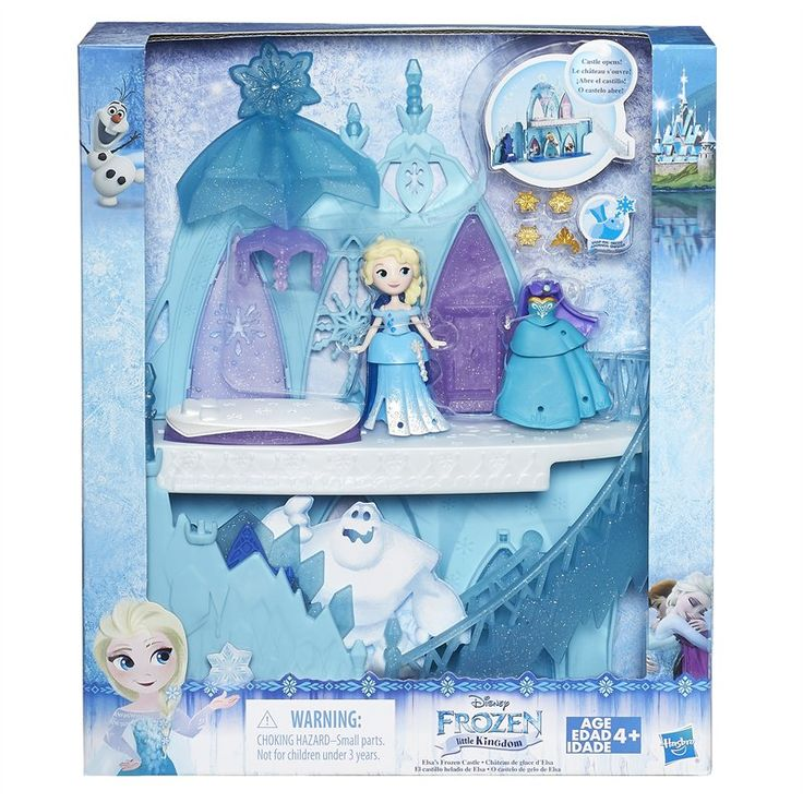 Your little dreamer will have lots of fun discovering all of the enchanted places in Elsa's Frozen Castle with Elsa! Flip the floor to reveal a bed, or flip the curtains to reveal Elsa's favorite friends, Anna and Olaf, on the wall. Pushing the seat of the throne will make crystals rise from the top just like magic! Girls can also switch up Elsa's look! She comes with 2 movie-inspired styles -- her iconic snow queen gown and her coronation outfit -- that feature a total of 2 bodic...