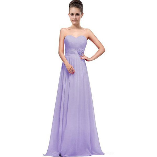 Light Purple Strapless Sweetheart Appliqued Pleated Sexy Chiffon Maxi... ($37) ❤ liked on Polyvore featuring dresses, sexy maxi dresses, purple dresses, pleated maxi dress, purple cocktail dresses and lavender cocktail dress