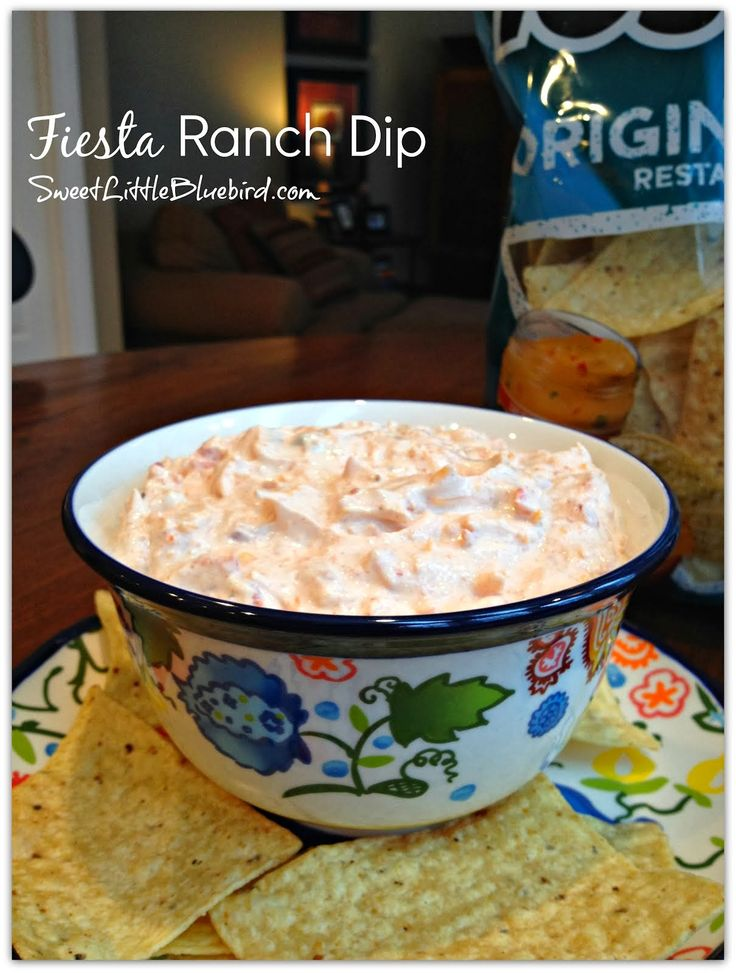 *1 packet Hidden Valley Fiesta Ranch Dip - (reduce amount for less intense flavor - you can use )   •10 ounce can Rotel Original (drain excess liquid) •16 oz sour cream •1 cup finely shredded cheddar cheese Directions Mix all ingredients in a medium size bowl.  Chill in fridge for 1 hour.  Serve with your favorite tortilla chips.  Great with veggies too!  Enjoy!