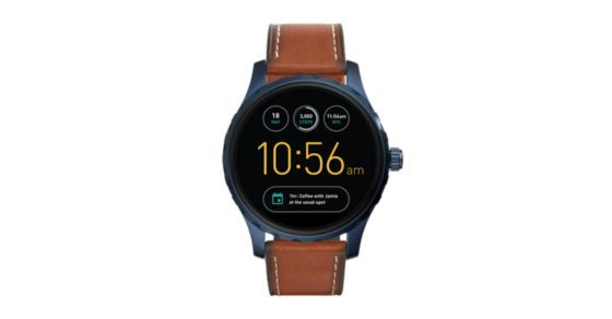 Q Marshal is our everyday digital display watch that connects seamlessly to your phone. Strapped in smooth leather, the tech-savvy dial with touchscreen functionality includes the all-new Android Wear™ 2.0's interactive dials (for info at a glance), user-friendly messaging, customizable watch faces and automatic activity tracking. *Powered by Android Wear™ 2.0, Fossil Q Marshal is compatible with phones running Android™ 4.3+ or iPhone 5/iOS 9+. Supported features may vary by platform...