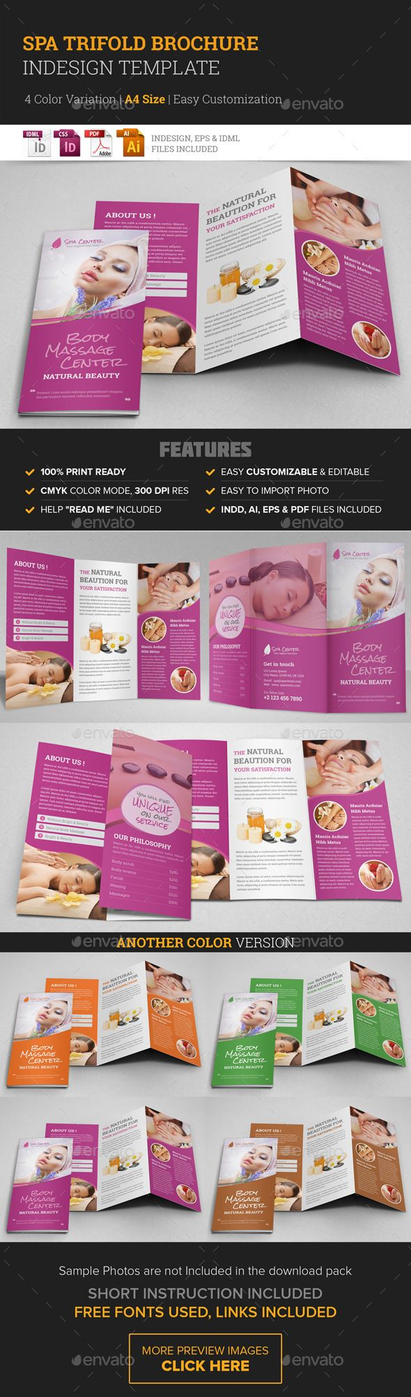Spa & Beauty Salon Trifold Brochure Template #design Download: http://graphicriver.net/item/spa-beauty-salon-trifold-brochure-template/10395235?ref=ksioks