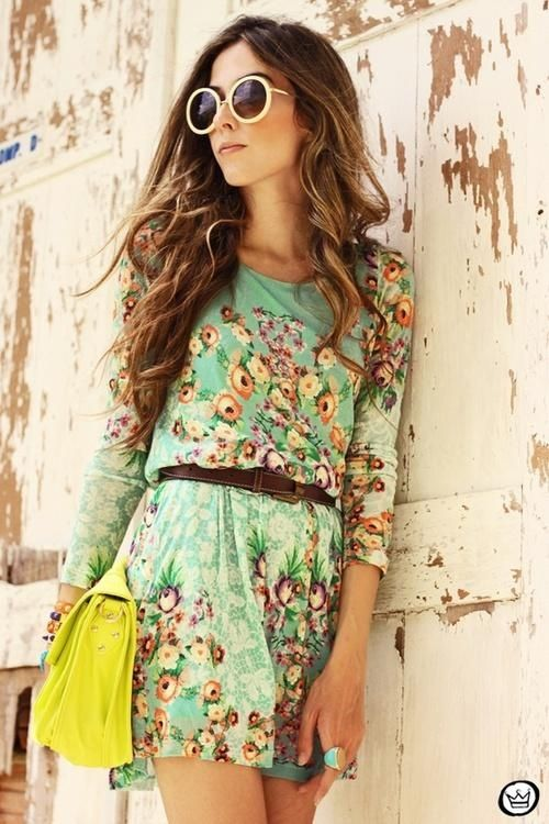 Floral dress paired with brown belt  bright yellow bag Outfits _ style - fashion