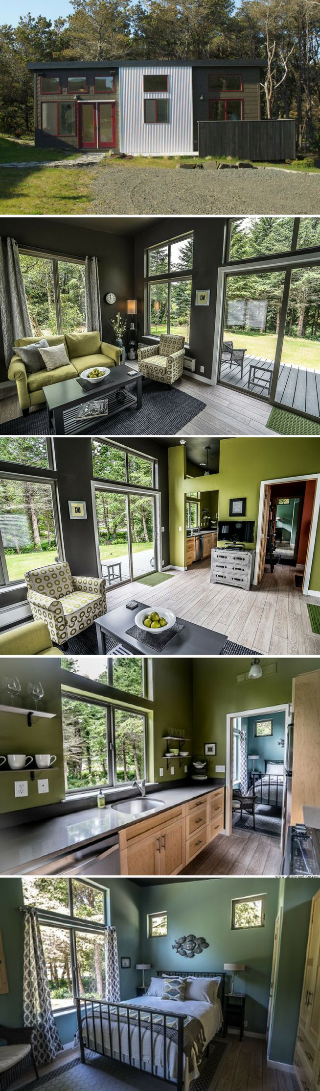 interior design of bungalow houses%0A The Northwest prefab home from IdeaBox sq ft   Ugly outside  but the inside  has nice open space and amazing natural light