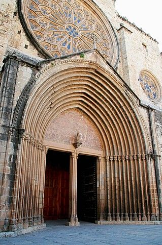 Main front (14th century), Monastery of Sant Cugat del Vallès, province of Barcelona, Catalonia.