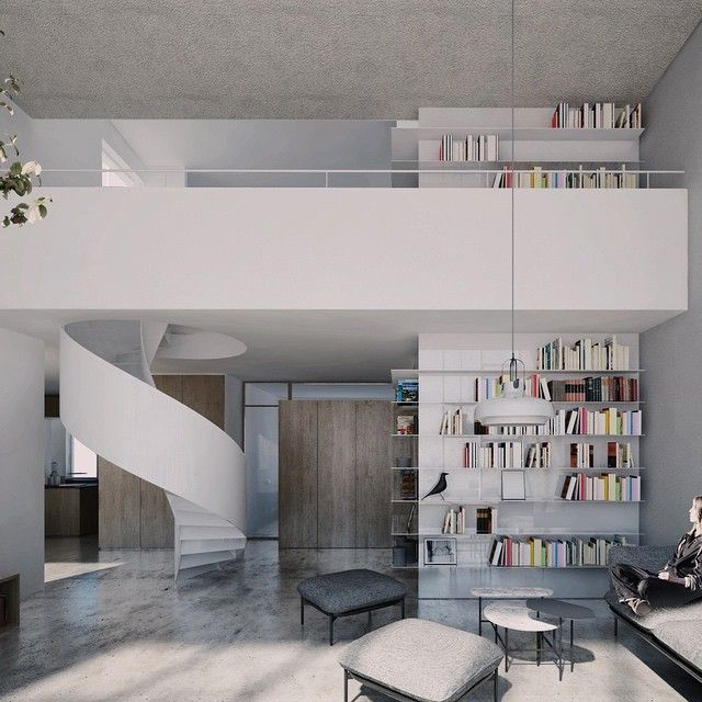 CZERNIAKOWSKA ROOFTOP EXTENSION   minimal design, white steel spiral staircase, floor to ceiling bookcase, oak, concrete floor