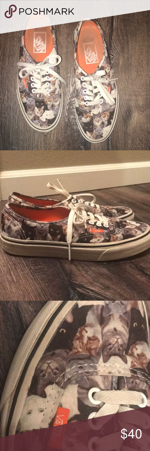 Vans Cat Shoes Great condition worn 3x at max! Love them just never wear them! Necessity for anyone who loves Cats or just looks great in them! Willing to be flexible on price! Vans Shoes Sneakers