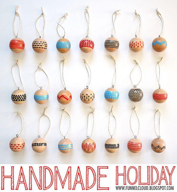 Handmade Holiday: Modern Painted Wood Ball Ornaments. #HandmadeHoliday2012