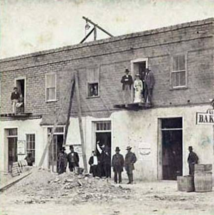 Cosmopolitan Hotel construction in Tombstone AZ 1880's with Gus. Caroline and Chris Bilicke