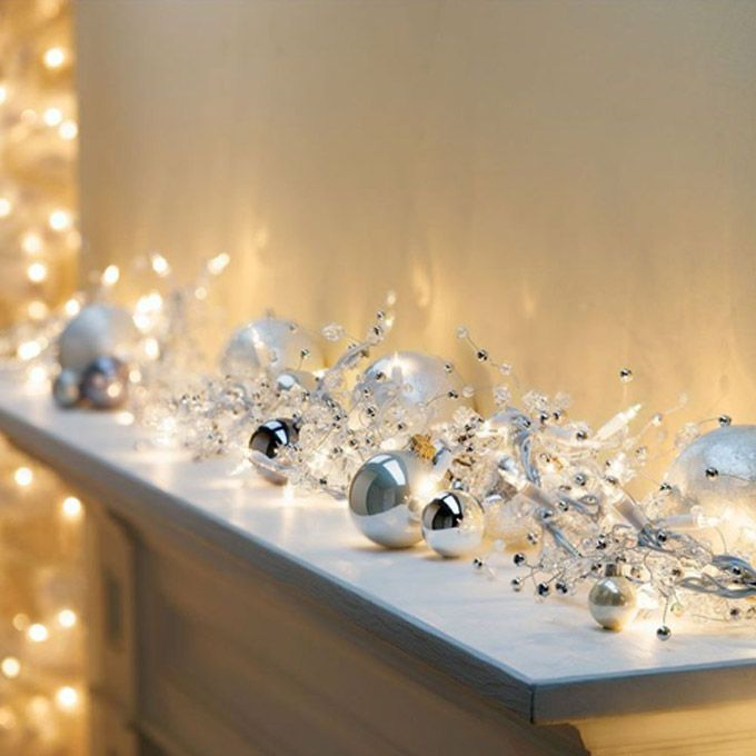 Lights and silver pearls on a festive mantlepiece