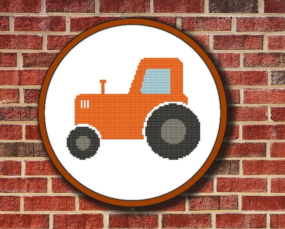 Cross Stitch Pattern Orange Tractor, Instant Download Digital PDF - Buy 2 Get 1 Free