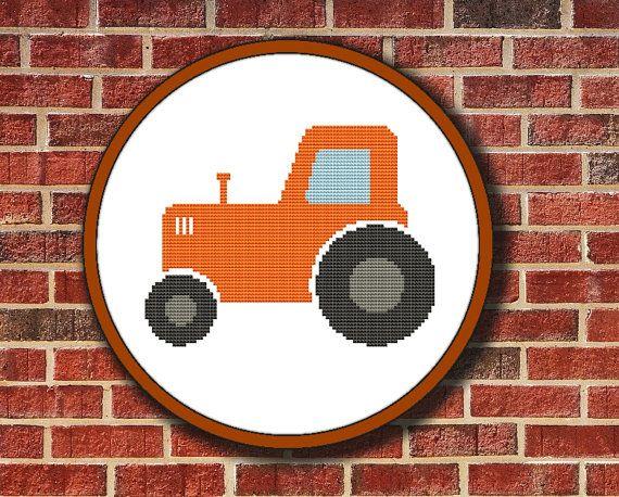 Cross Stitch Pattern Orange Tractor, Instant Download Digital PDF - Buy 2 Get 1 Free