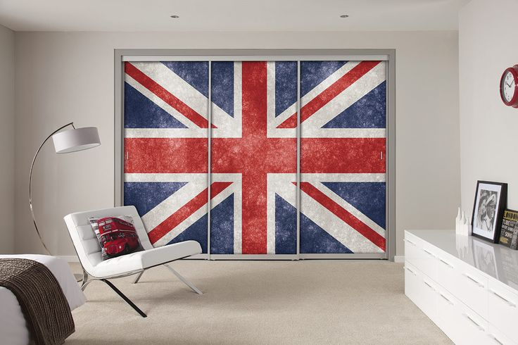 Youcreate custom wardrobe door design wallpapered for Union jack bedroom ideas