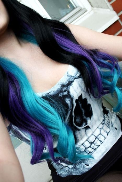 Black blue teal purple streaked curled hair