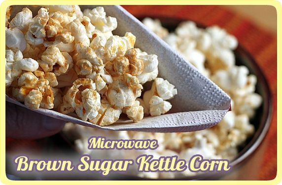 Homemade Microwave Brown Sugar Kettle Corn -- An easy recipe for a crunchy, lightly sweet & salty snack. No bag, no mess.