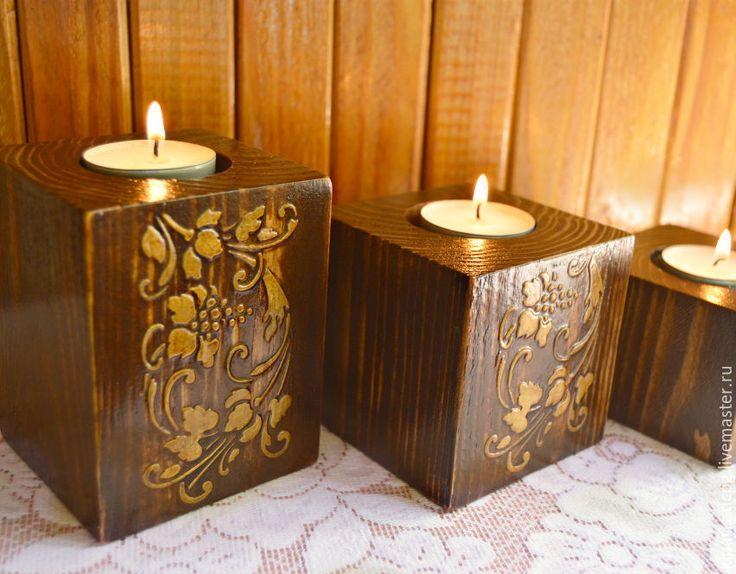 Купить Подсвечники из дерева - коричневый, деревянные подсвечники, подсвечник из дерева, подсвечник деревянный, предмет интерьера