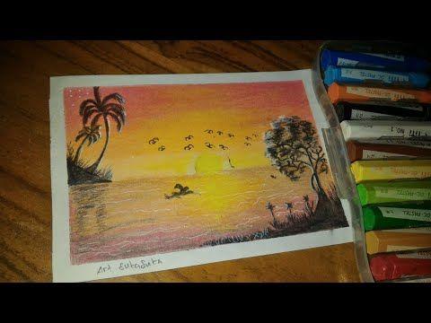 Cara Menggambar Pemandangan Matahari Tenggelam Gambar Crayon Art