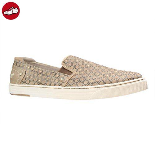 MUSTANG - 1246-401 - Damen Slipper - Beige Schuhe in Übergrößen, Farben:Beige;Größe:42;Weite:G (*Partner-Link)