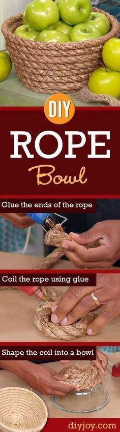 76 Crafts To Make and Sell - Easy DIY Ideas for Cheap Things To Sell on Etsy, Online and for Craft Fairs. Make Money with These Homemade Crafts for Teens, Kids, Christmas, Summer, Mother's Day Gifts. |  DIY Rope Bowl   |  diyjoy.com/crafts-to-make-and-sell