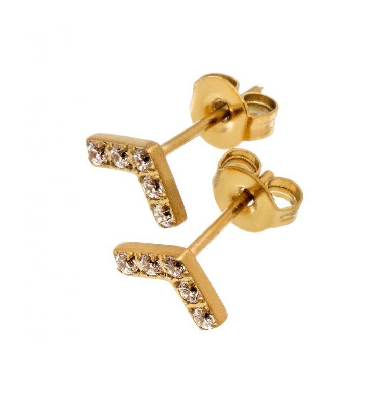 Valley studs, matt gold Featuring 5 Cubic Zirconia gemstones 7mm