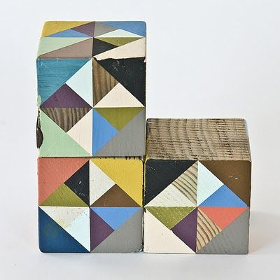 Painted wooden blocks- for mapping out quilt plans...of half triangles
