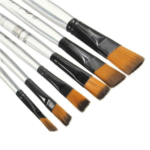 6pcs/pack New Artist Transparent Handle Paint Brush Set Artist Nylon Oil Painting Brushes Art Supplies Wholesale School Supplies