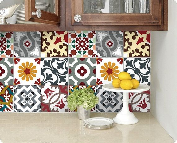 kitchen bathroom tile decals vinyl sticker barcelona patchwork bmix5 pomys y do domu. Black Bedroom Furniture Sets. Home Design Ideas
