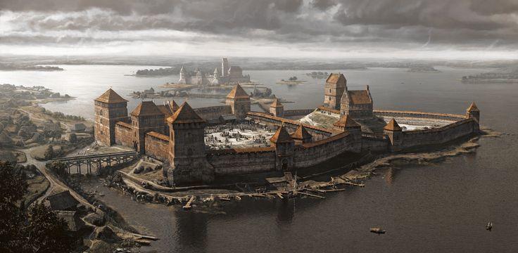 Trakai castle (14th century), Vilius Petrauskas on ArtStation at https://www.artstation.com/artwork/3oQbm