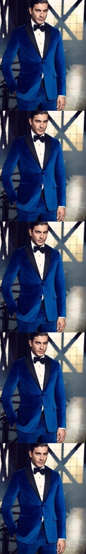 Blue collar custom Formal Tuxedo / Wedding Suit / groom wearing a Tuxedo Suit (3 pieces / groomsman shirt + trousers + tie)