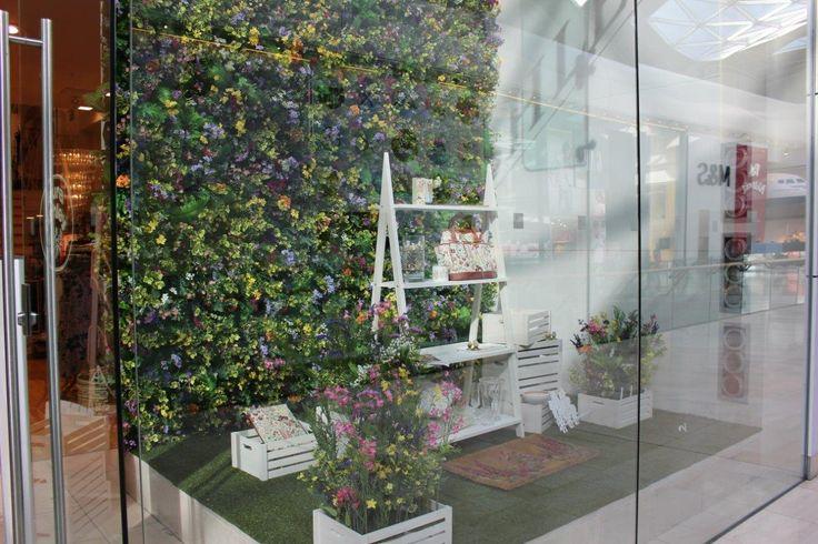 Hello Flamingo window display for #lauraashley #windowdisplay #retail #retaildesign #visualmerchandising #design #workshop #flowers #windowideas