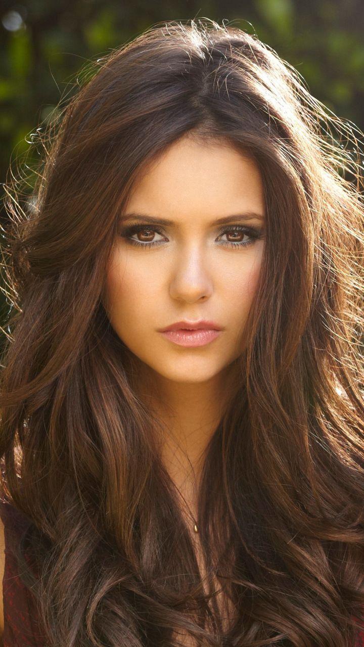 Nina Dobrev, brunette, beautiful actress, 720x1280 wallpaper
