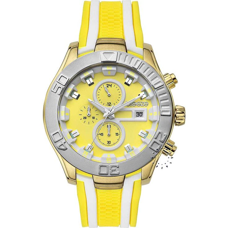BREEZE Milkshake Stripes Chrono Yellow Rubber Strap Μοντέλο: 110081.8 Τιμή: 195€ http://www.oroloi.gr/product_info.php?products_id=30581