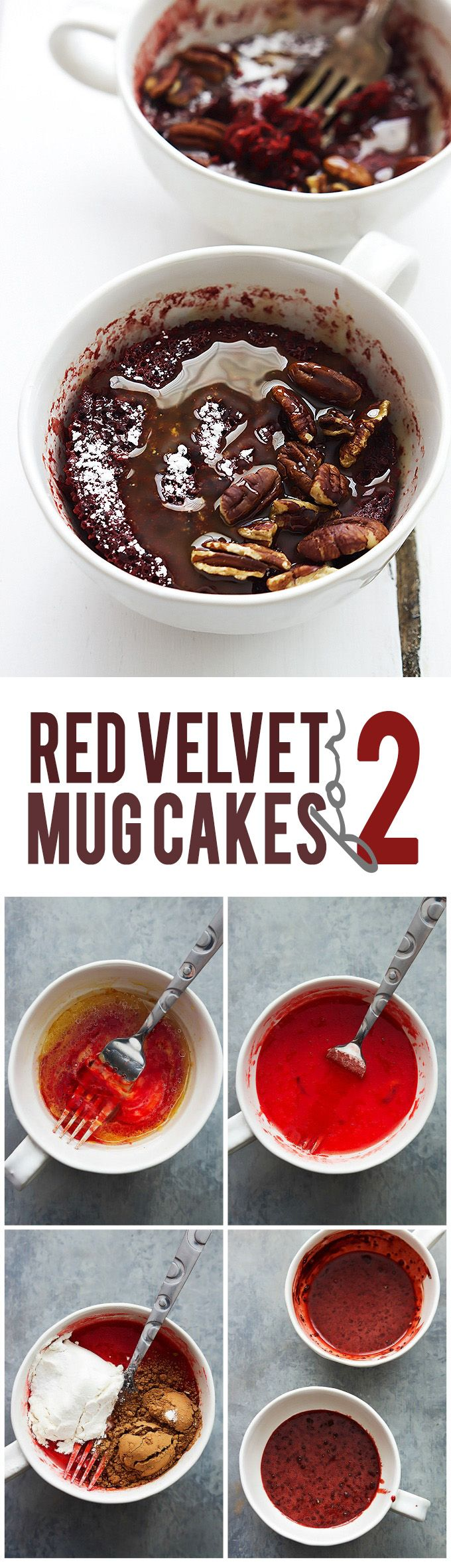 Quick and easy red velvet mug cakes for TWO, drizzled with caramel sauce and sprinkled with crunchy pecans! | Creme de la Crumb