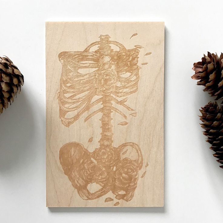 Laser engraved on wood! My floral skeleton engraved to create a unique piece of art. Only 1 available!