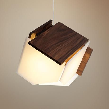 Cerno mica l 16 wide oiled walnut led pendant light