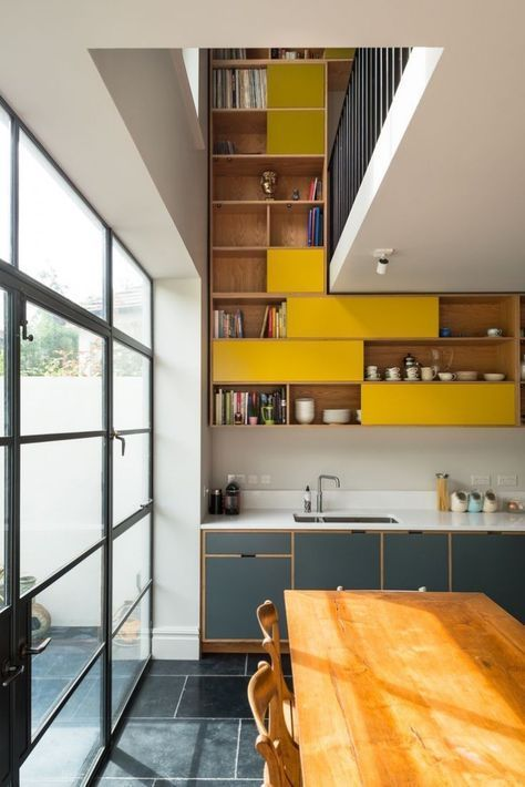 ...shelves on two stories ❣Mackeson-Road-London-kitchen-remodel-MW-Architects-photo-via-Uncommon-Projects-cabinetmakers-Remodelista-2