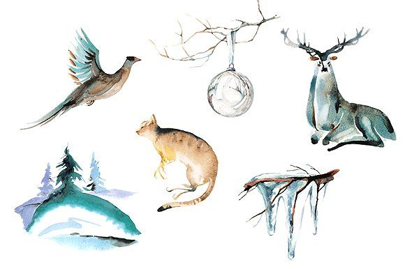 Snow watercolor. Winter animal clipart set