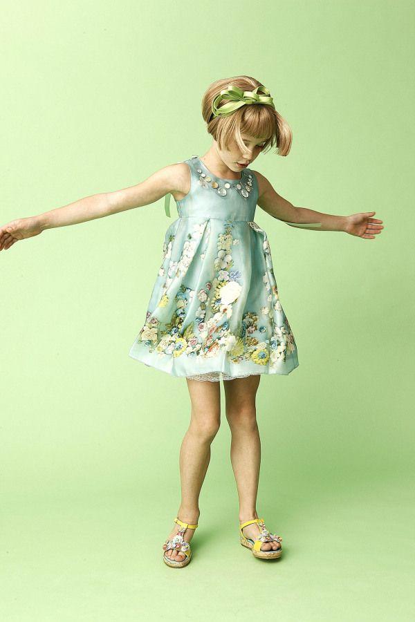 Mi Mi Sol Spring Summer 2014, Flowers collection. Blue organza dress. #flowers #mimisol #springsummer2014 #SS14 #children #kids #childrenwear #kidswear #girls