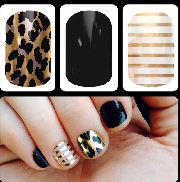 Jamberry Nail Wraps are heat activated and pressure applied which creates a water tight seal. Jamberry nail wraps last on fingernails up to 2 weeks and 4-6 weeks on toes. To get this look the Jamberry nail wraps you will need are: Gold Leopard, Darkest Black and Metallic Gold Pinstripe. All wraps are Buy 3 Get 1 FREE at  www.kellyjohnson64.jamberry.com/profile/