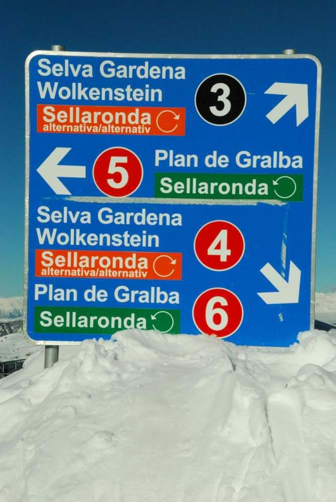 Val Gardena, South Tyrol – slopes indications on the Sella Ronda tour. Which way will you go?
