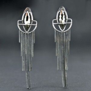 SHEEN | Monika Kraczek  Beautiful, long, silver earrings with pyrite. 100% handmade. Unique! Buy: www.monikakraczek.com