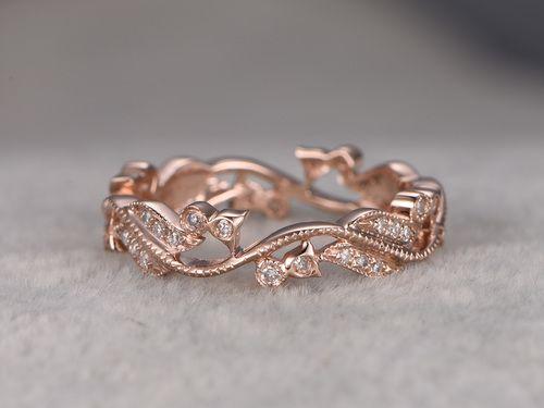 Diamond Wedding Ring,Solid 14k Rose Gold Full Eternity Milgrain Art Nouveau Floral Anniversary ring