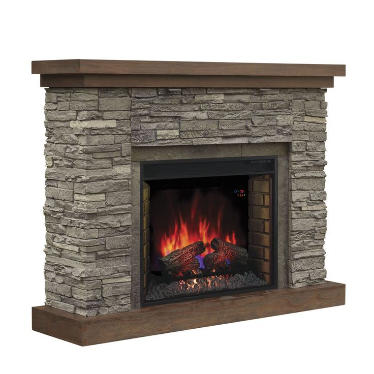 Chimney Free 54-in W 5,200-BTU Cappuccino Brown Ash Wood Infrared Quartz Electric Fireplace with Thermostat and Remote Control