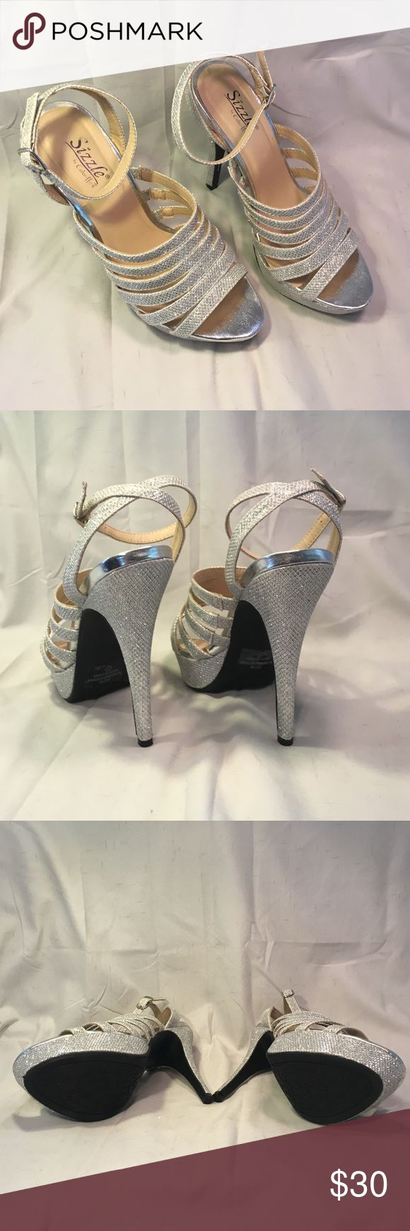 Sizzle silver dress shoes Silver strappy dress heels. Only worn once. Great for wedding, prom, formal. Sizzle by Coloriffics Shoes Heels