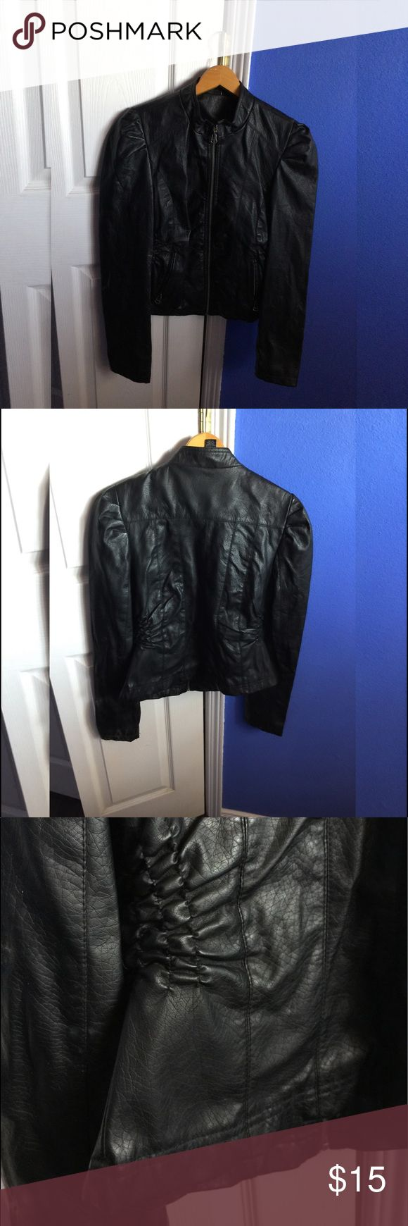 Rue 21 Black Faux Leather Jacket I hardly EVER where this jacket because I have other ones that I prefer. Nothing is wrong with it I'm just trying to declutter👍🏼👍🏼☺️ I recommend this jacket to someone with a longer torso! Size says large but I think it's better for a medium sized person😋 I WILL CONSIDER ALL OFFERS Rue 21 Jackets & Coats