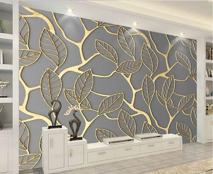 Unique 3d Golden Leaves Pattern Wallpaper Mural Gold Leaf
