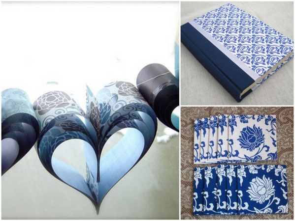 Hearts made out of scrapbooking paper. keeping Indigo color in mind :)