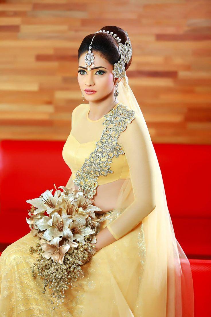 Sri lankan bride by salon roots sri lankan weddings for Sari inspired wedding dress