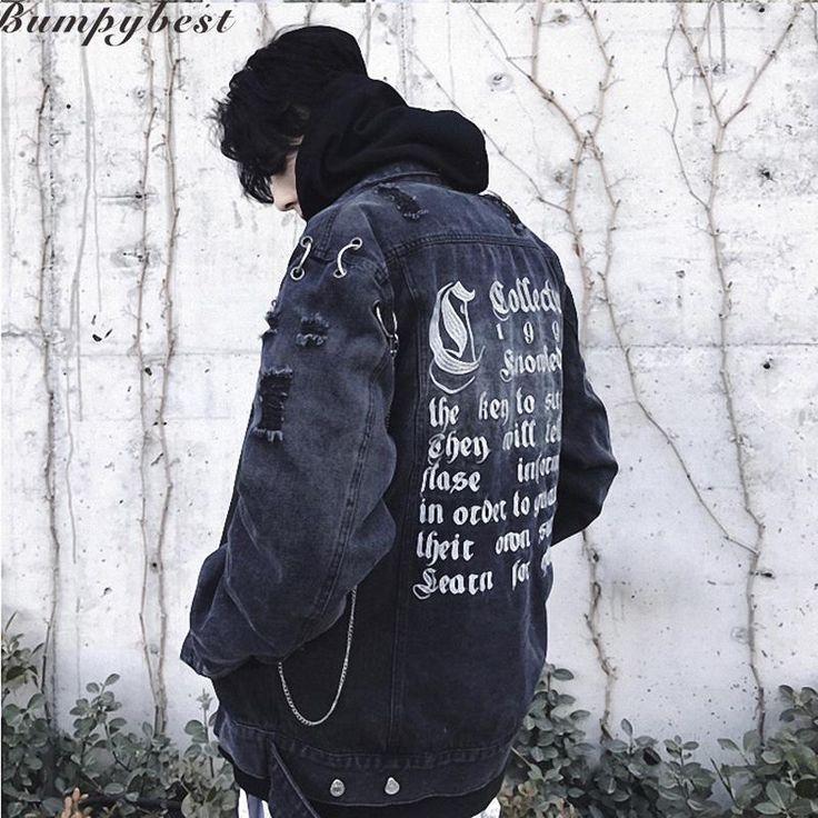 Wallmart.win Men Jeans Jacket Letter Embroidery Hole Zipper Denim Jackets Hip Hop Male Coats Blue Black Us Size S-XL: Vendor: Wallmart…