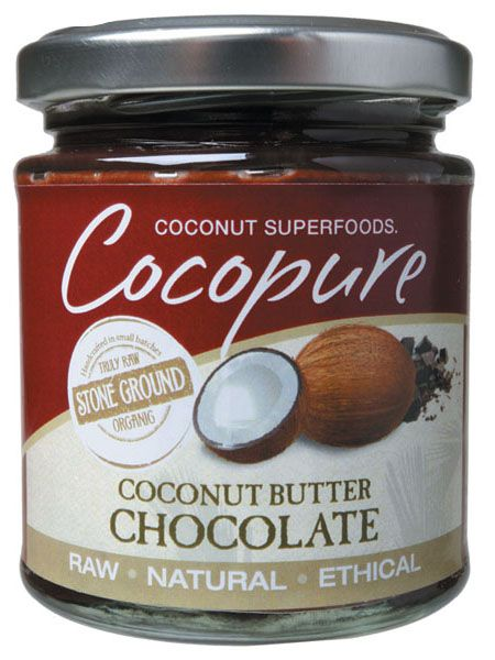 Cocopure's Coconut Chocolate Butter is a rich, decadent blend of raw coconut and cacao ingredients making it a healthy, non-dairy spread (a great alternative to to margarine or butter for people allergic or intolerant to dairy). Available at The Organic Store (www.theorganicstore.com.au)