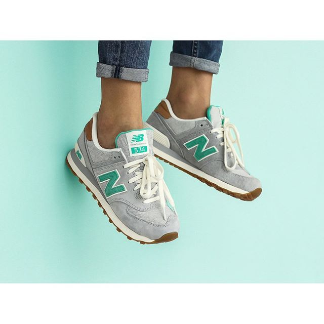 new balance 574 trainers green